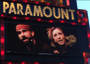 Wade and me on the marquee screen